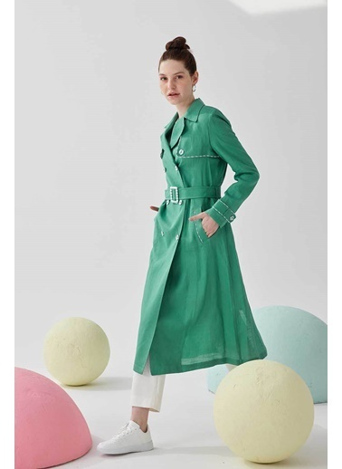 Vivencia Kombin Detaylı Keten Kumaş Kadın Kap Mint Yeşil